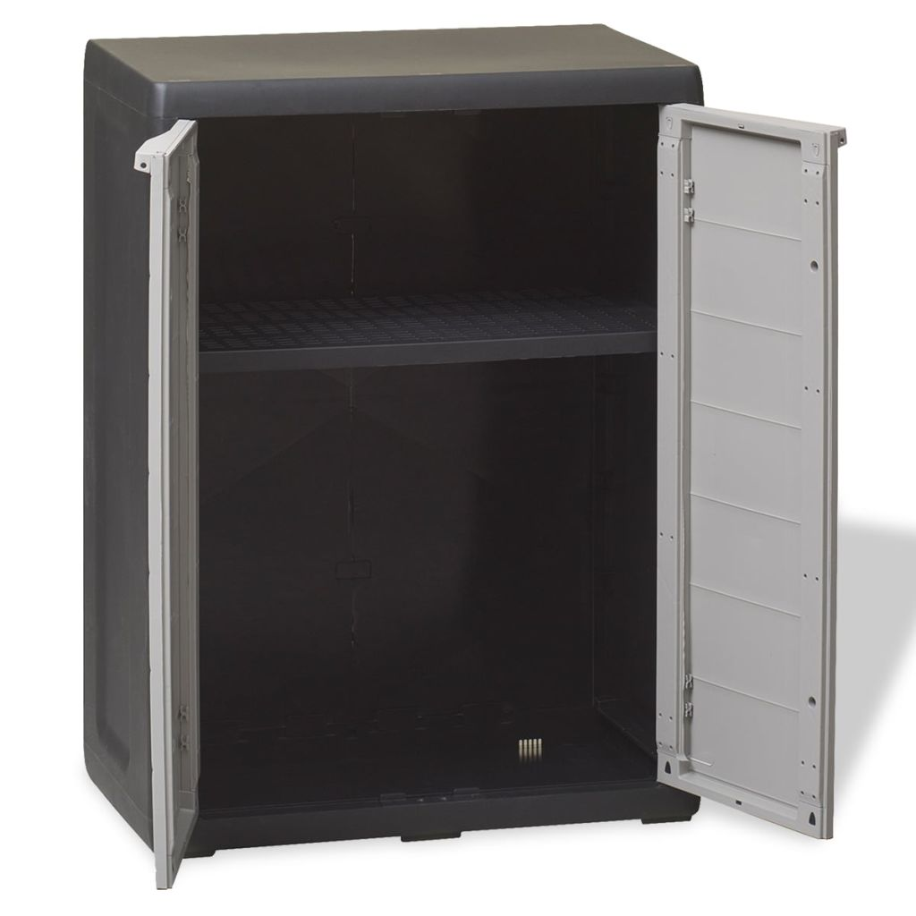 Garden Storage Cabinet with 1 Shelf Black and Grey 6