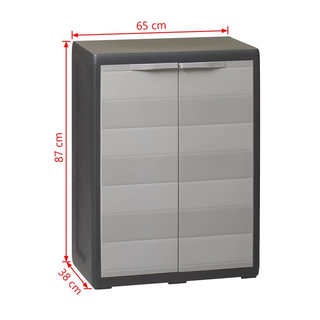 Garden Storage Cabinet with 1 Shelf Black and Grey 9