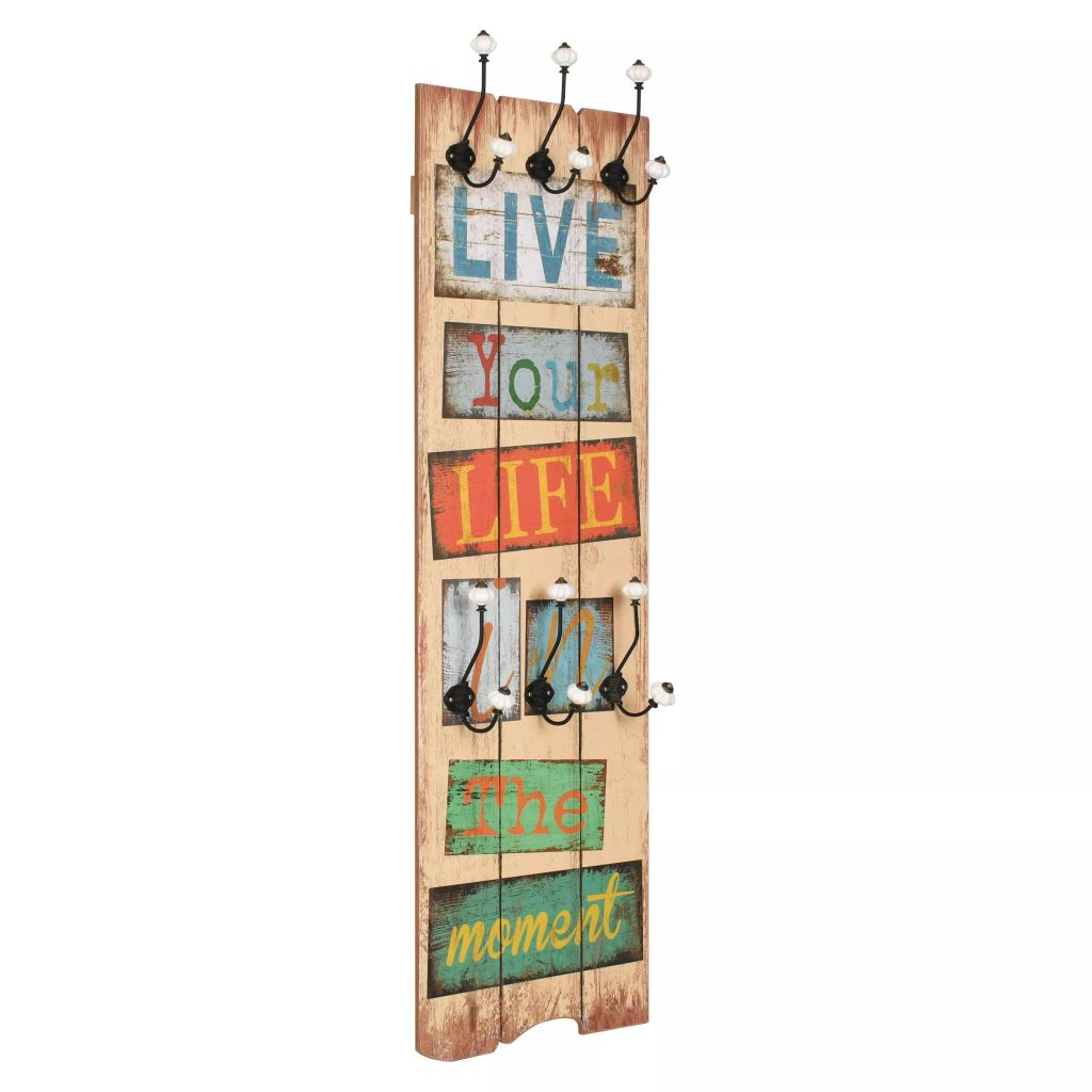 Wall-mounted Coat Rack with 6 Hooks 120×40 cm LIVE LIFE 1