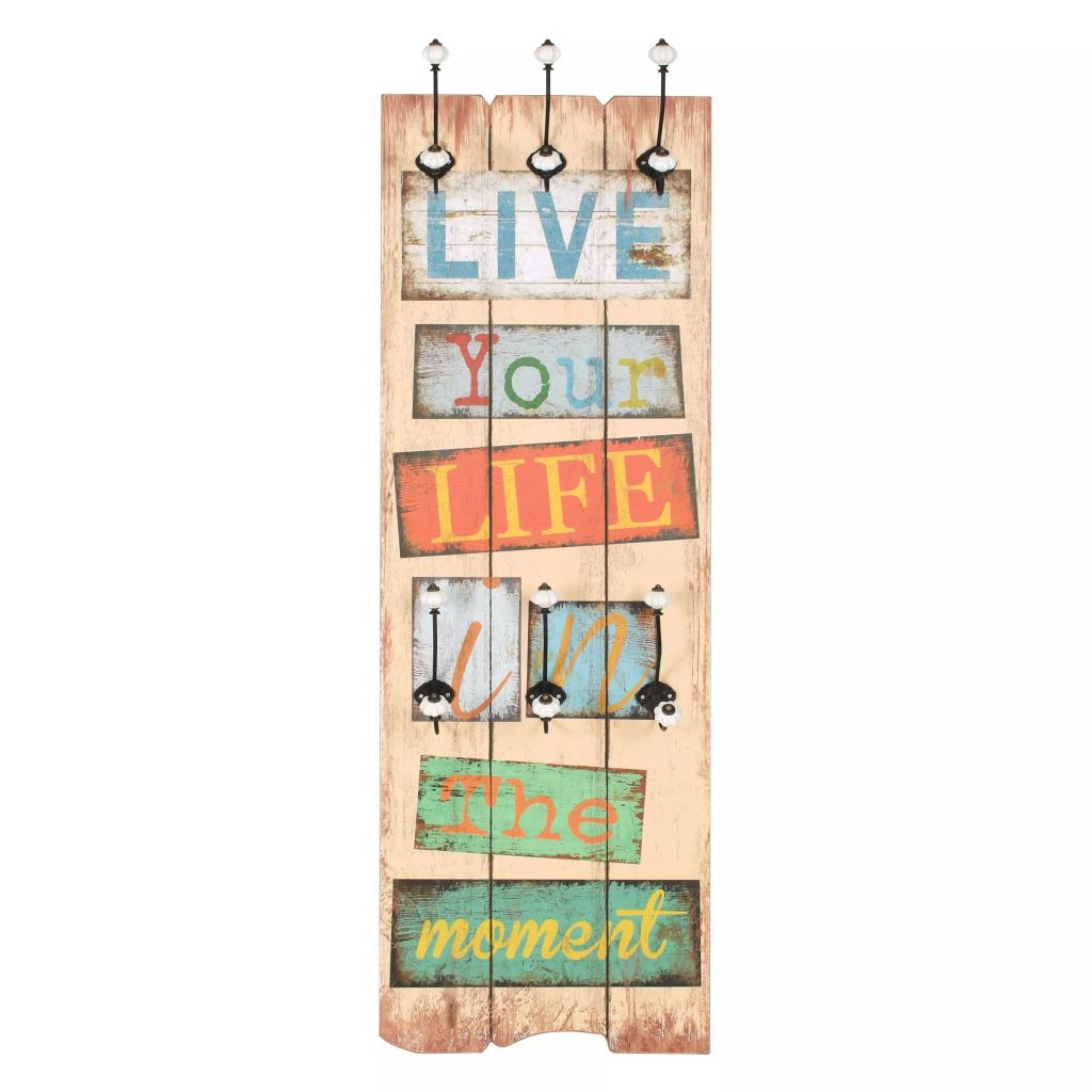 Wall-mounted Coat Rack with 6 Hooks 120×40 cm LIVE LIFE 2