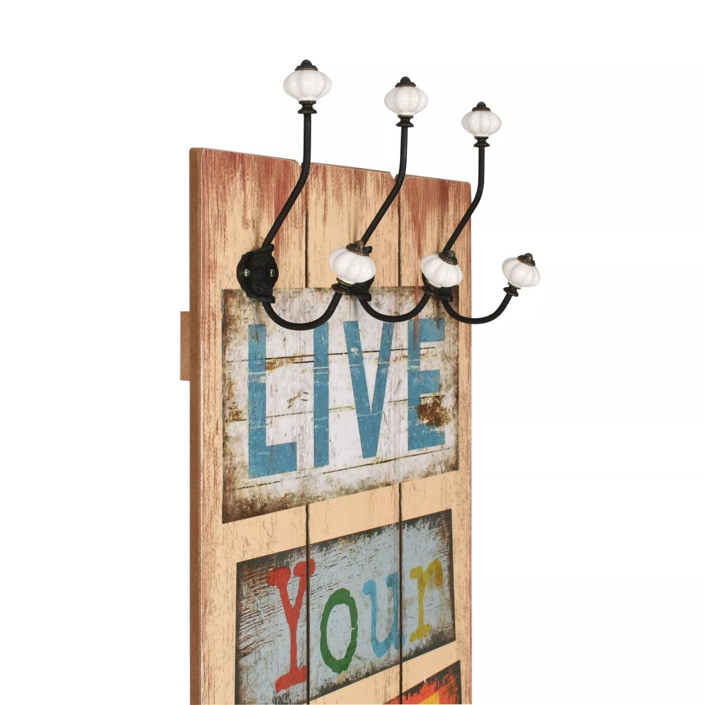 Wall-mounted Coat Rack with 6 Hooks 120×40 cm LIVE LIFE 3