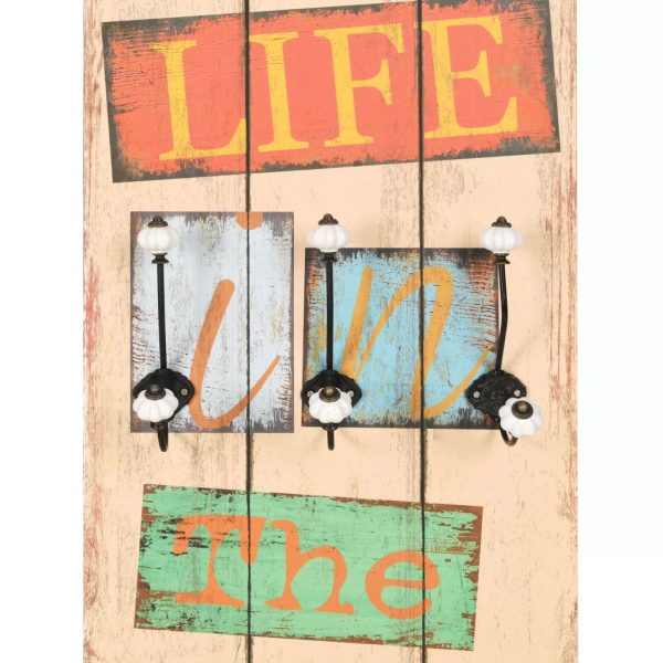 Wall-mounted Coat Rack with 6 Hooks 120×40 cm LIVE LIFE 4