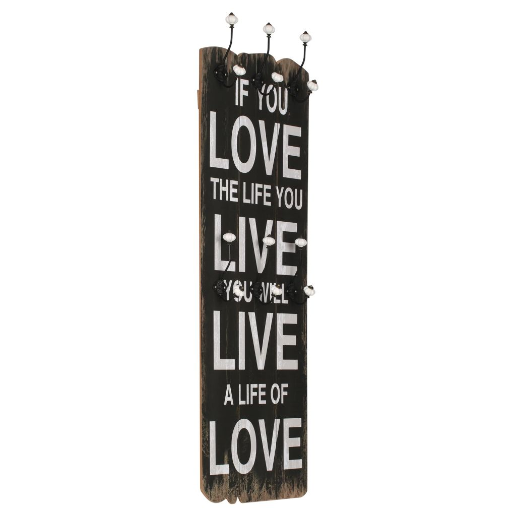 Wall-mounted Coat Rack with 6 Hooks 120×40 cm LOVE LIVE 1
