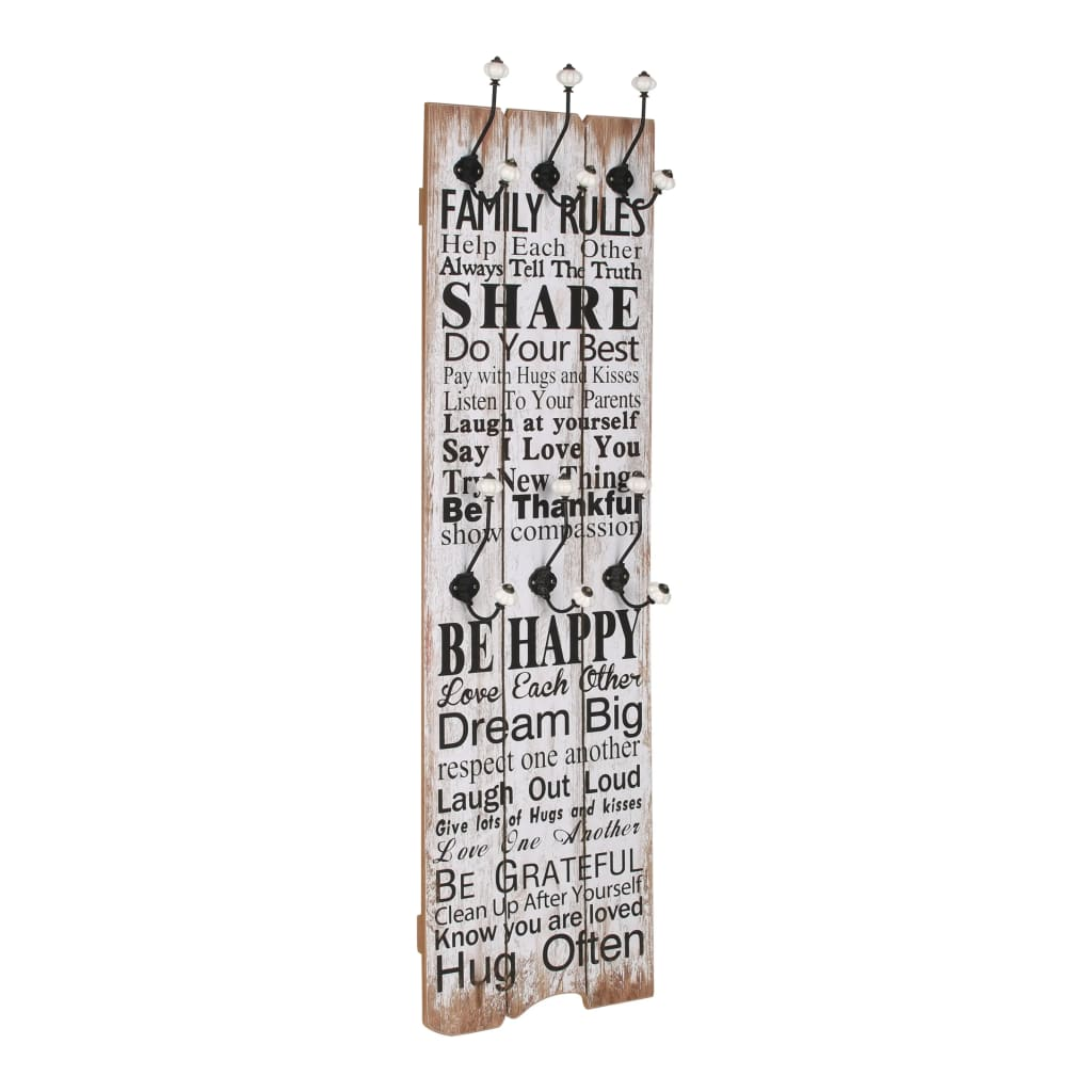Wall-mounted Coat Rack with 6 Hooks 120×40 cm FAMILY RULES 1