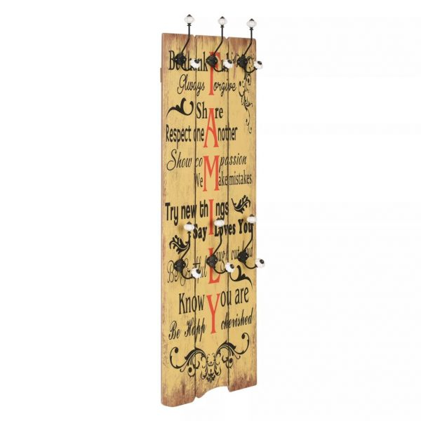 Wall-mounted Coat Rack with 6 Hooks 120×40 cm FAMILY 1