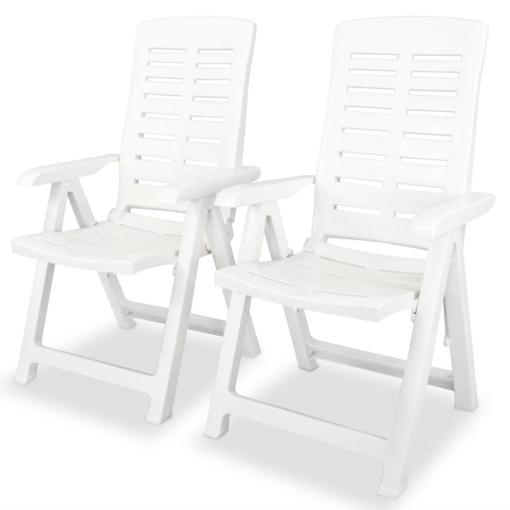 Reclining Garden Chairs 2 pcs Plastic White 1