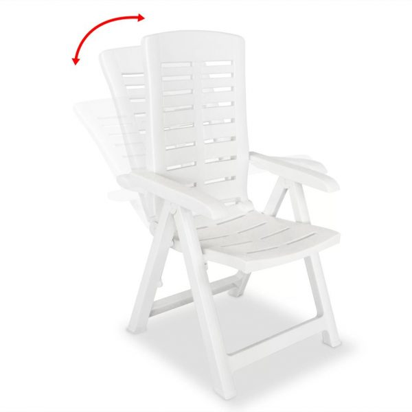 Reclining Garden Chairs 2 pcs Plastic White 2