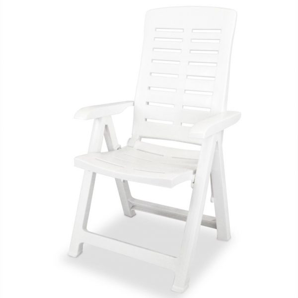 Reclining Garden Chairs 2 pcs Plastic White 3