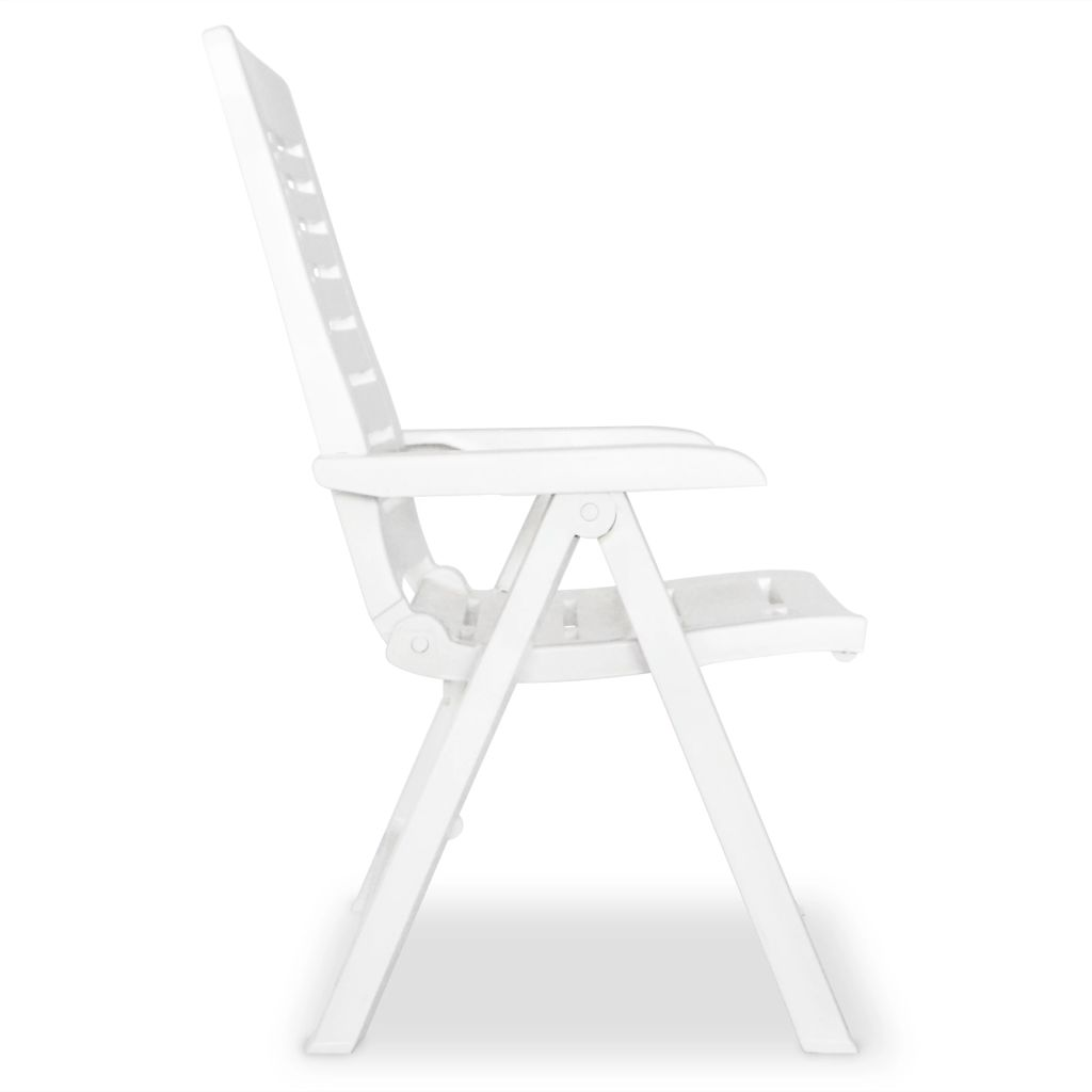 Reclining Garden Chairs 2 pcs Plastic White 4