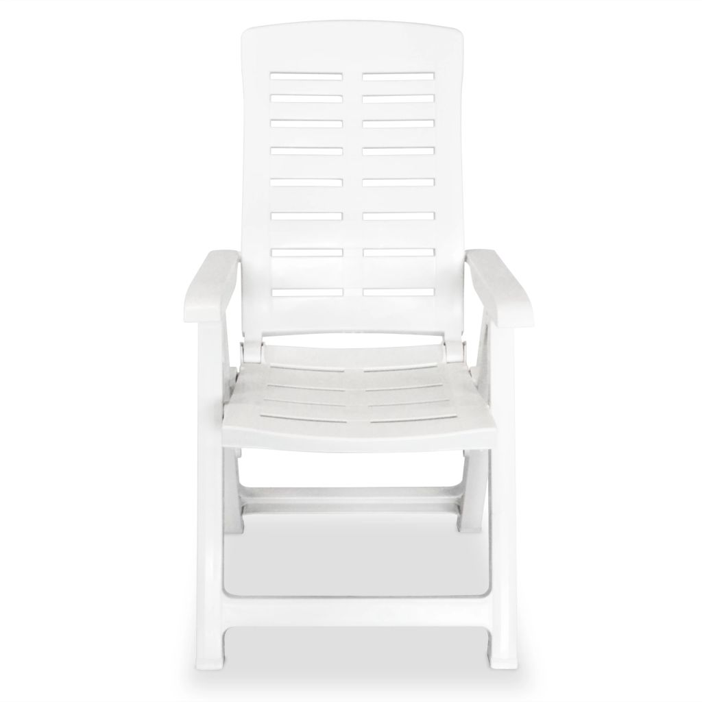 Reclining Garden Chairs 2 pcs Plastic White 5