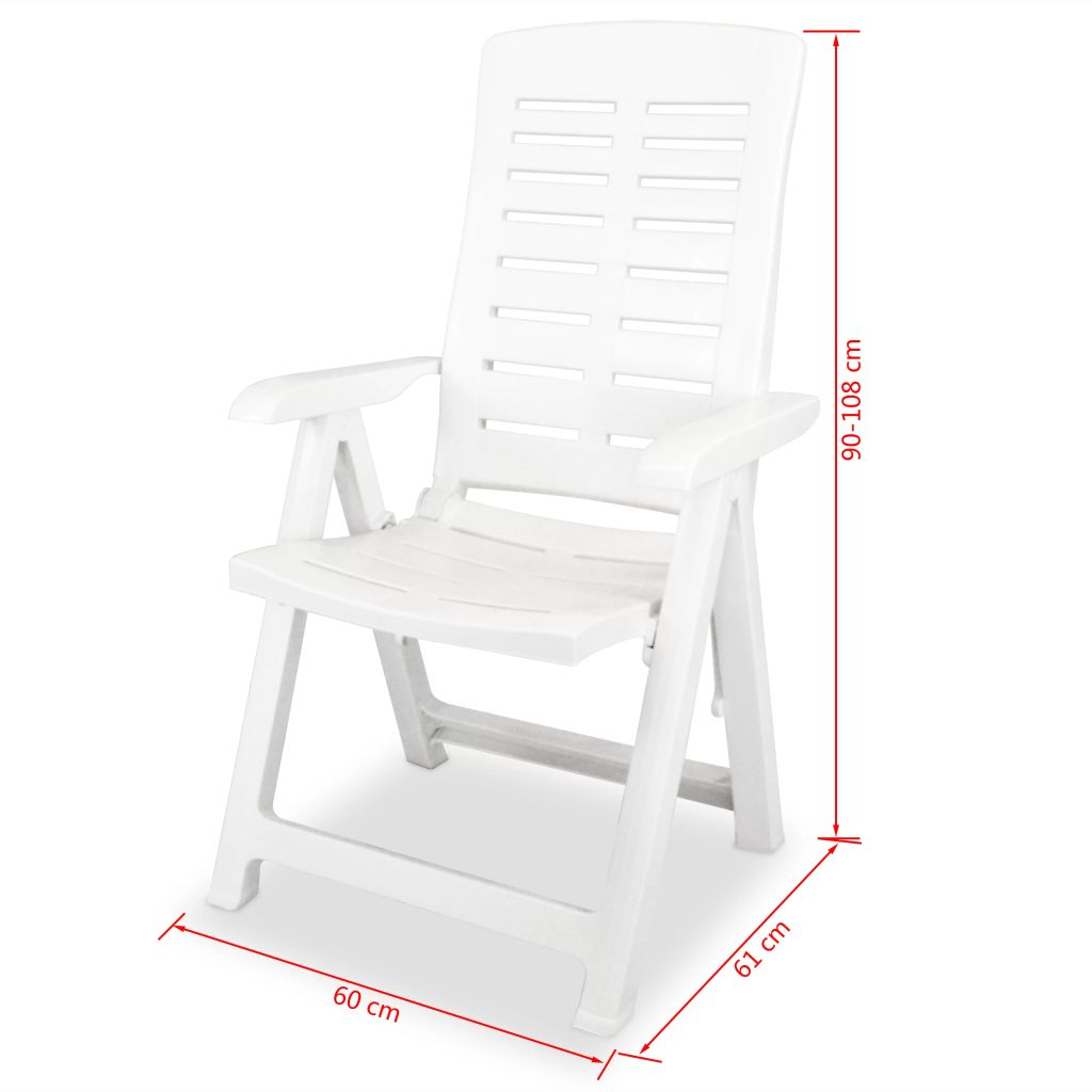 Reclining Garden Chairs 2 pcs Plastic White 8