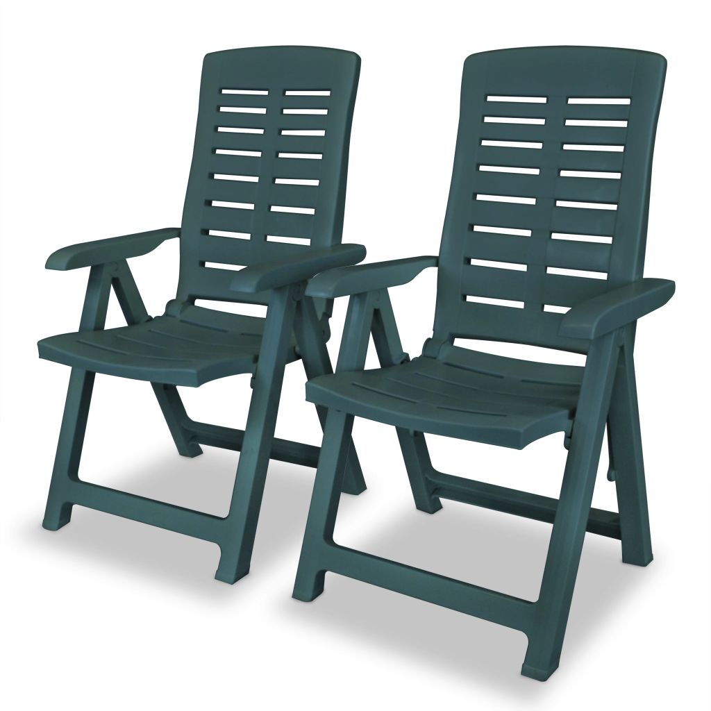 Reclining Garden Chairs 2 pcs Plastic Green