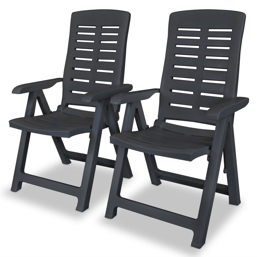 Reclining Garden Chairs 2 pcs Plastic Anthracite 1