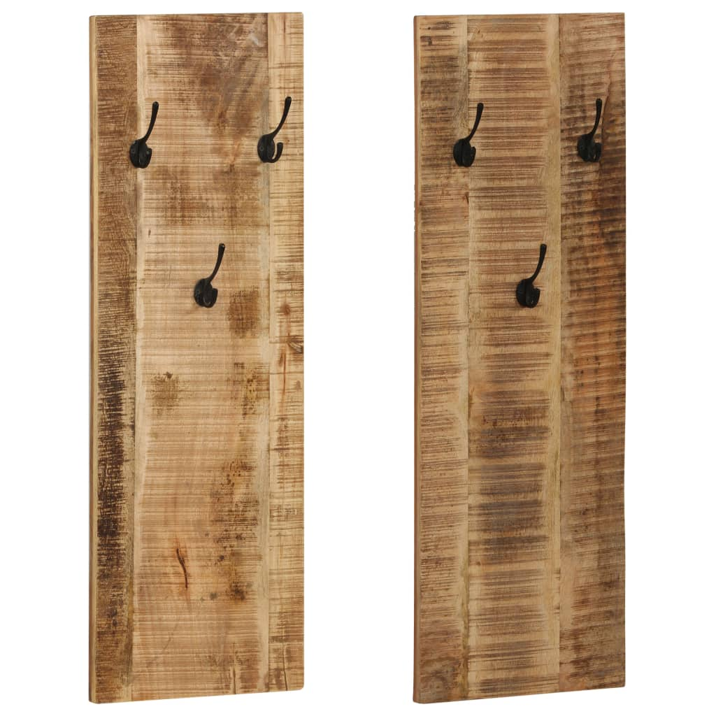 Wall-mounted Coat Racks 2 pcs Solid Mango Wood 36x110x3 cm