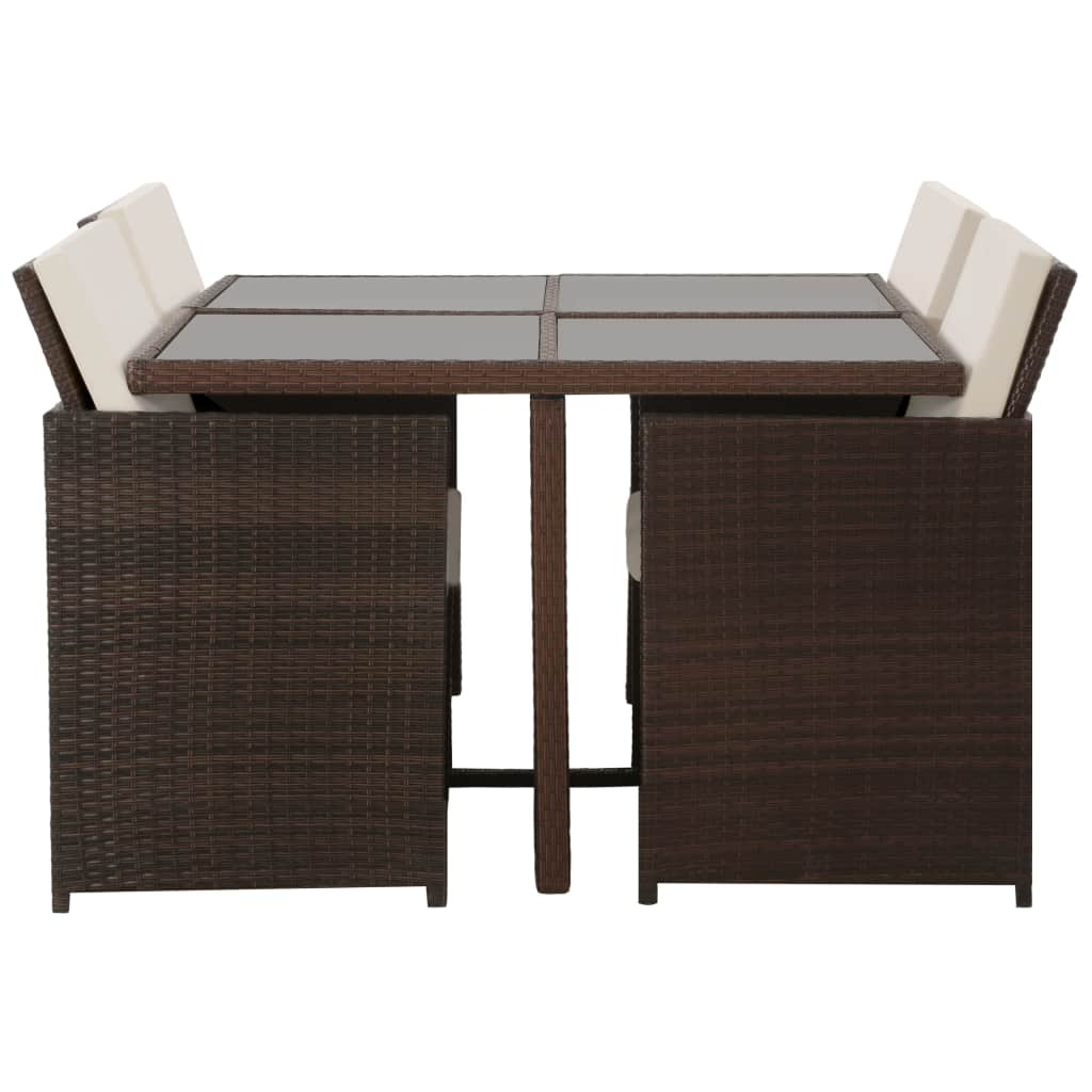 5 Piece Outdoor Dining Set with Cushions Poly Rattan Brown 2