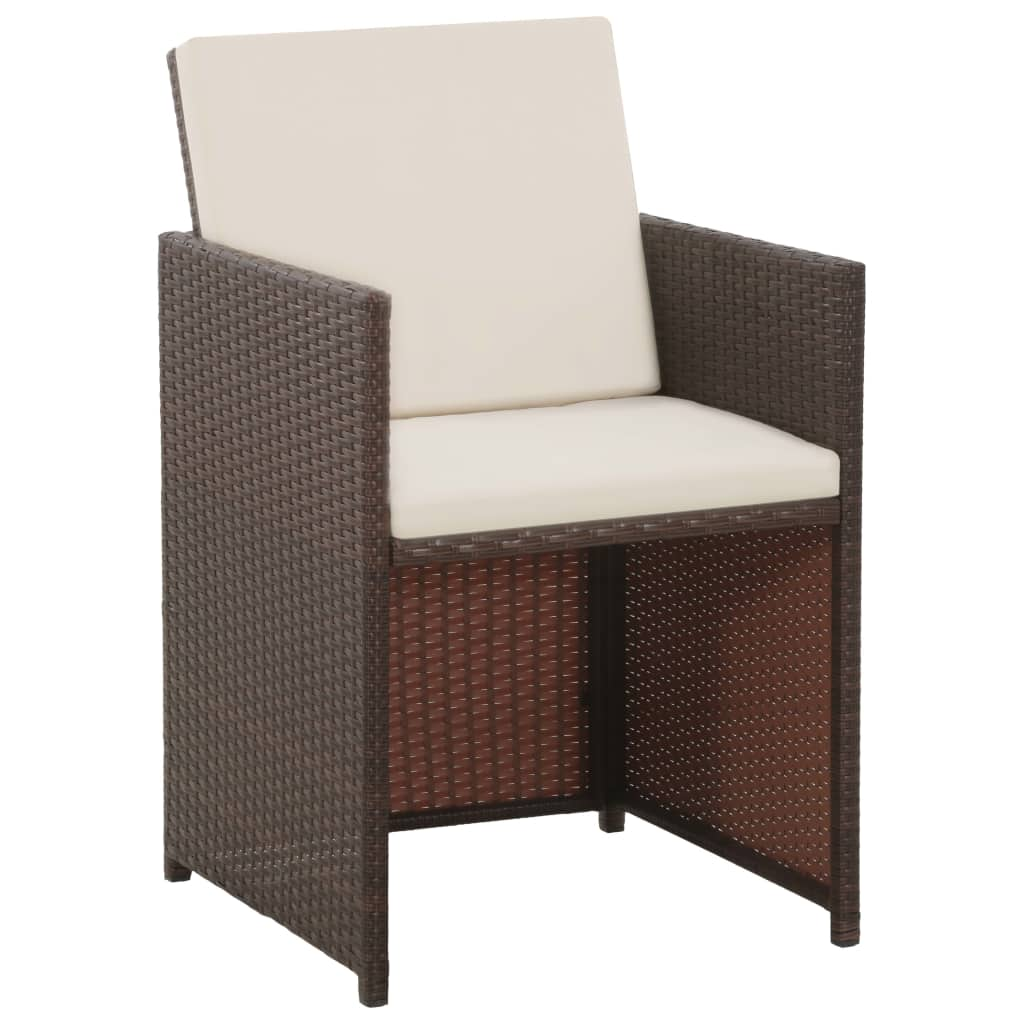 5 Piece Outdoor Dining Set with Cushions Poly Rattan Brown 3