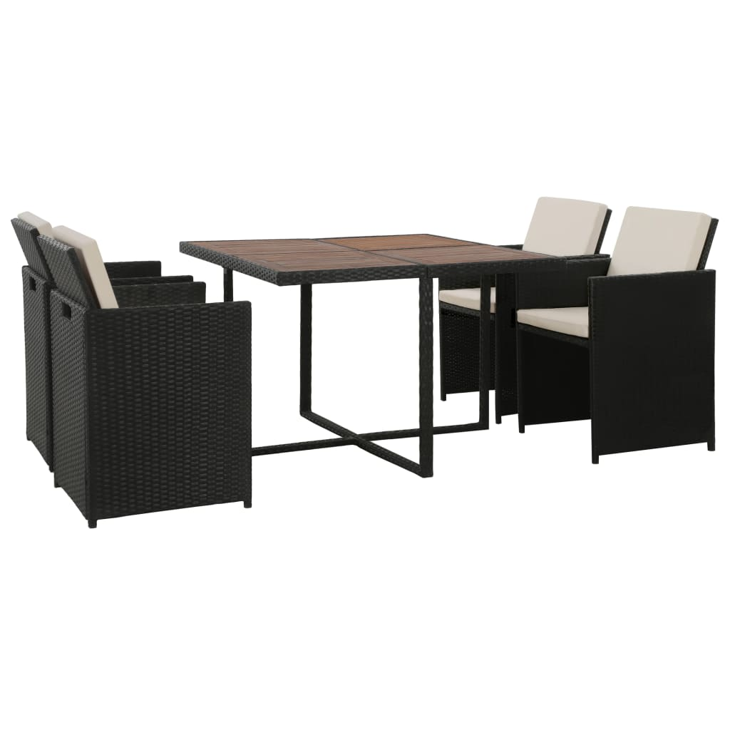 5 Piece Outdoor Dining Set with Cushions Poly Rattan Black