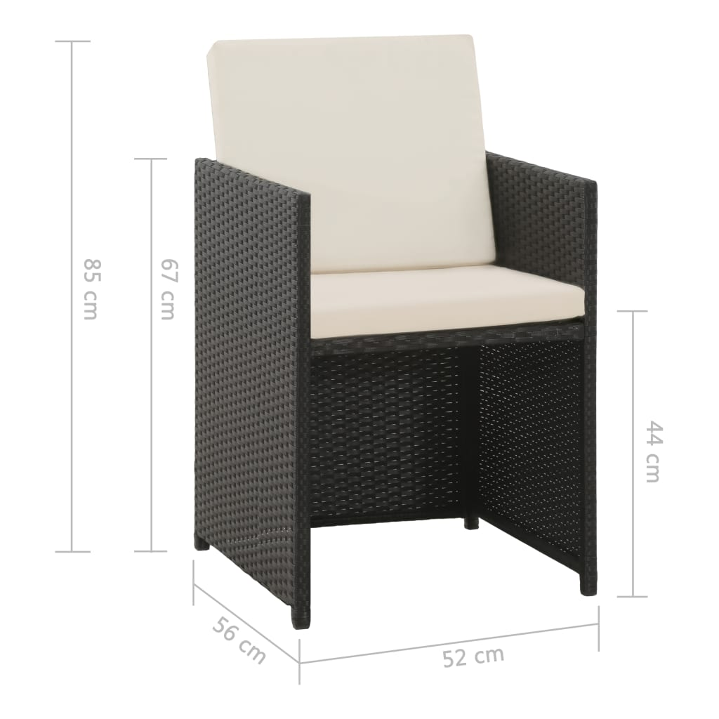 5 Piece Outdoor Dining Set with Cushions Poly Rattan Black 6