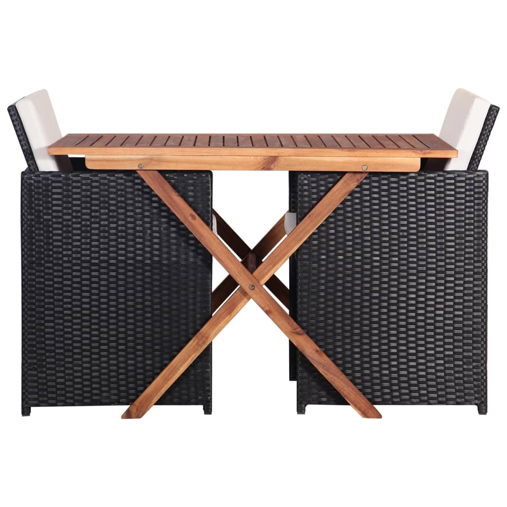 3 Piece Bistro Set Poly Rattan and Acacia Wood Black 3