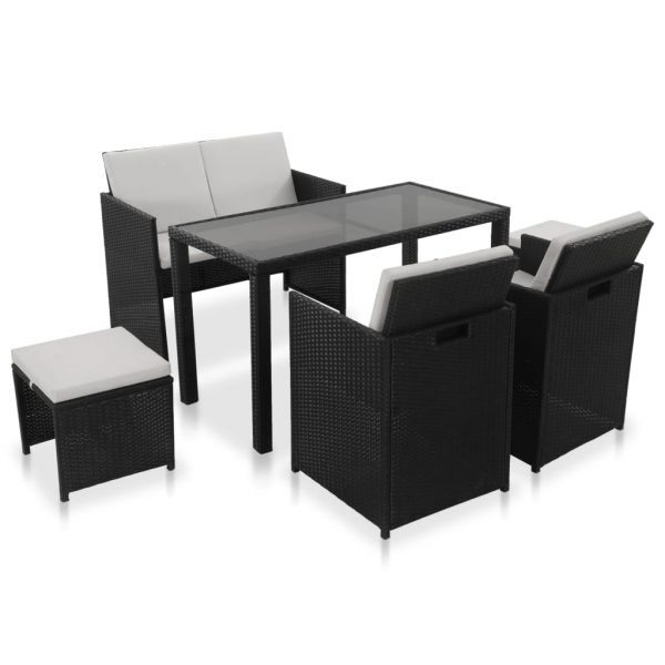 6 Piece Outdoor Dining Set with Cushions Poly Rattan Black 1