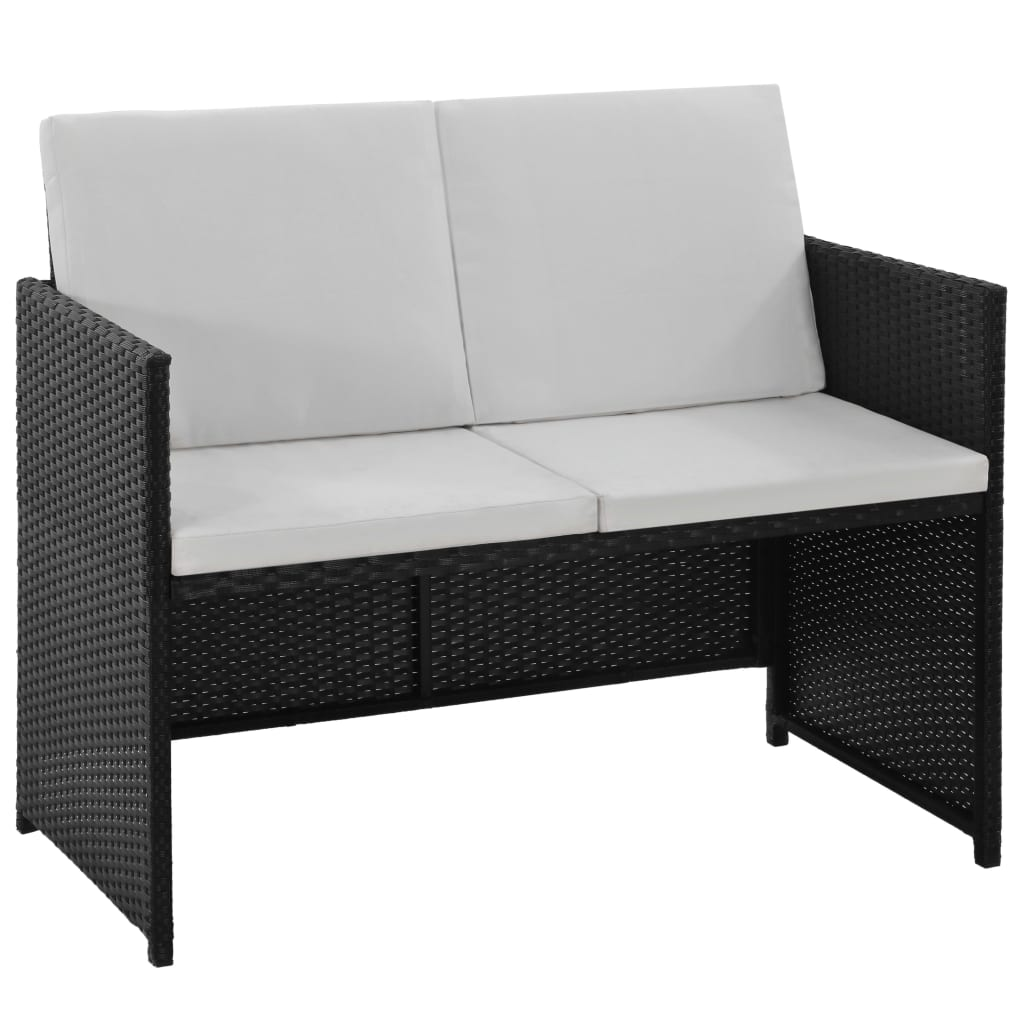 6 Piece Outdoor Dining Set with Cushions Poly Rattan Black 5