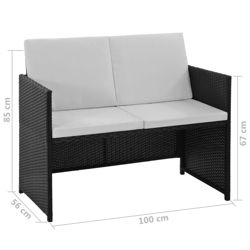 6 Piece Outdoor Dining Set with Cushions Poly Rattan Black 10