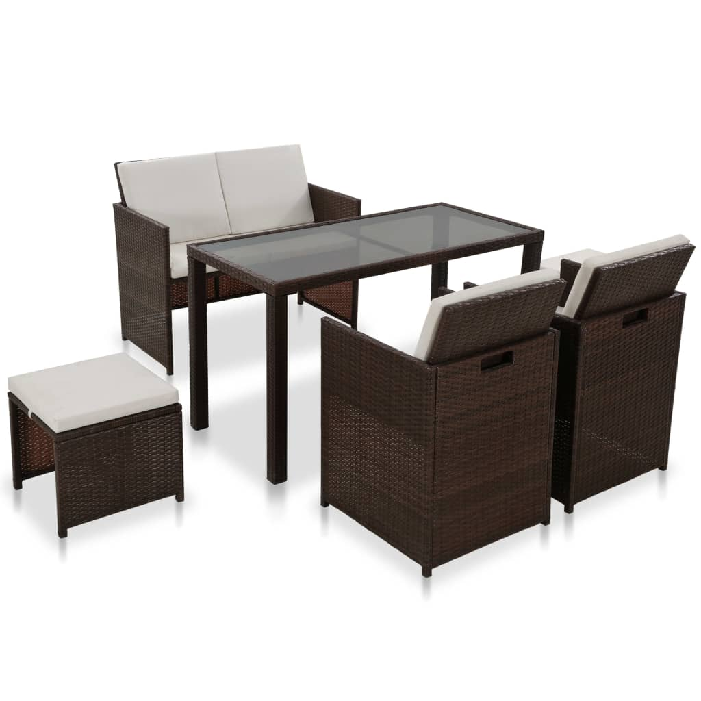 16 Piece Outdoor Dining Set Brown Poly Rattan Brown