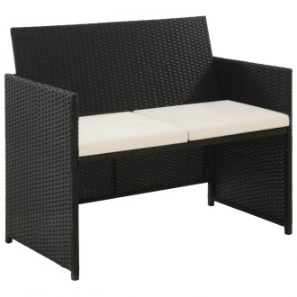 2 Seater Garden Sofa with Cushions Black Poly Rattan 1
