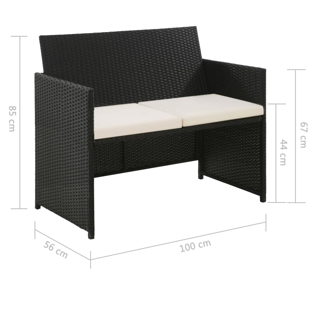 2 Seater Garden Sofa with Cushions Black Poly Rattan 2