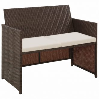 2 Seater Garden Sofa with Cushions Brown Poly Rattan 1