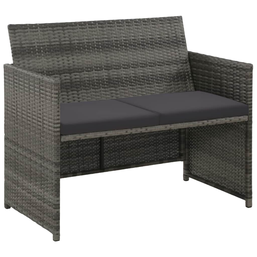 2 Seater Garden Sofa with Cushions Grey Poly Rattan 1