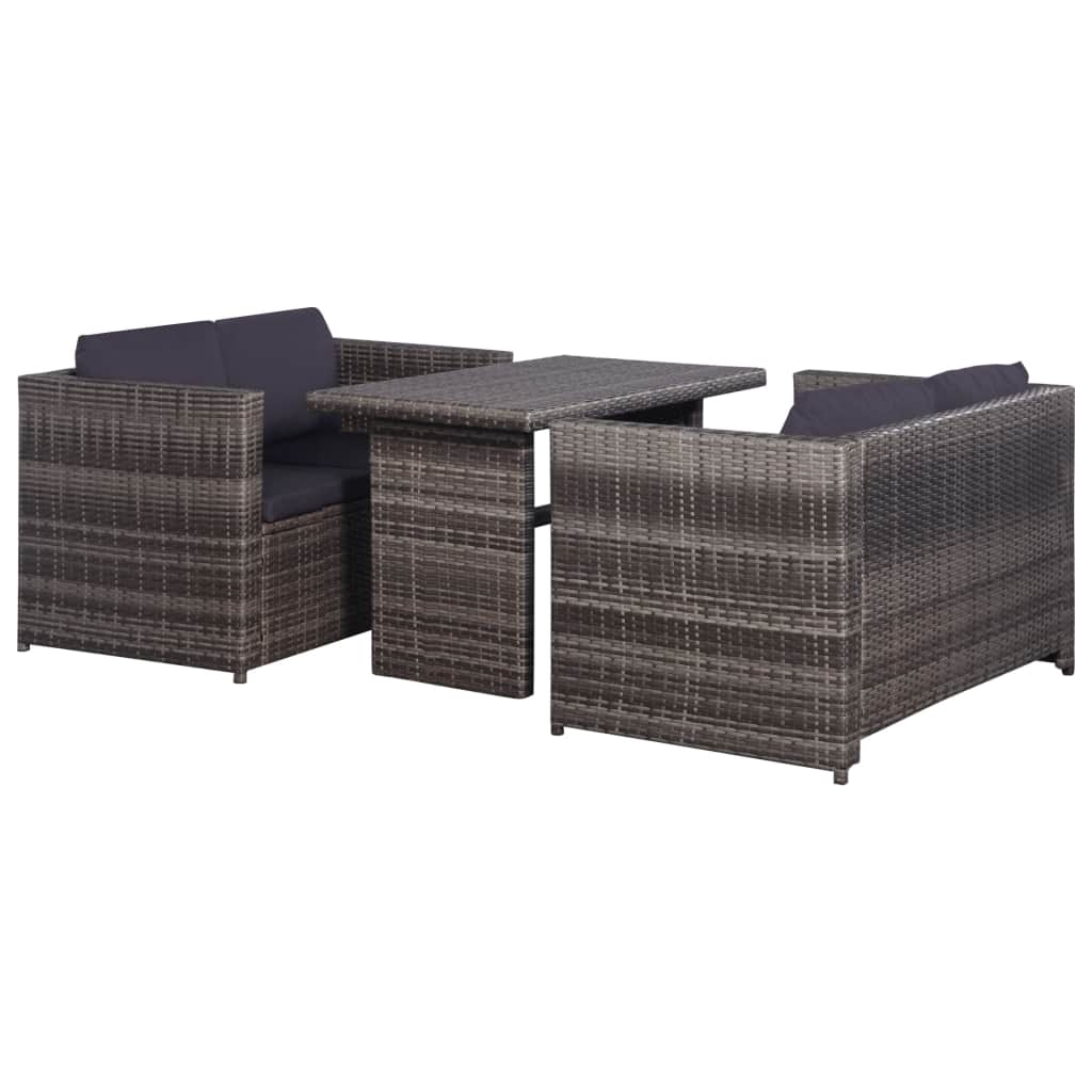 3 Piece Bistro Set Poly with Cushions Rattan Grey
