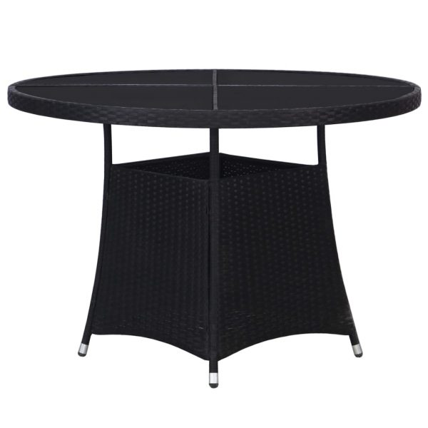 7 Piece Outdoor Dining Set with Cushions Poly Rattan Black 2