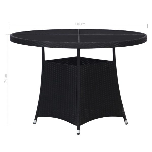 7 Piece Outdoor Dining Set with Cushions Poly Rattan Black 7