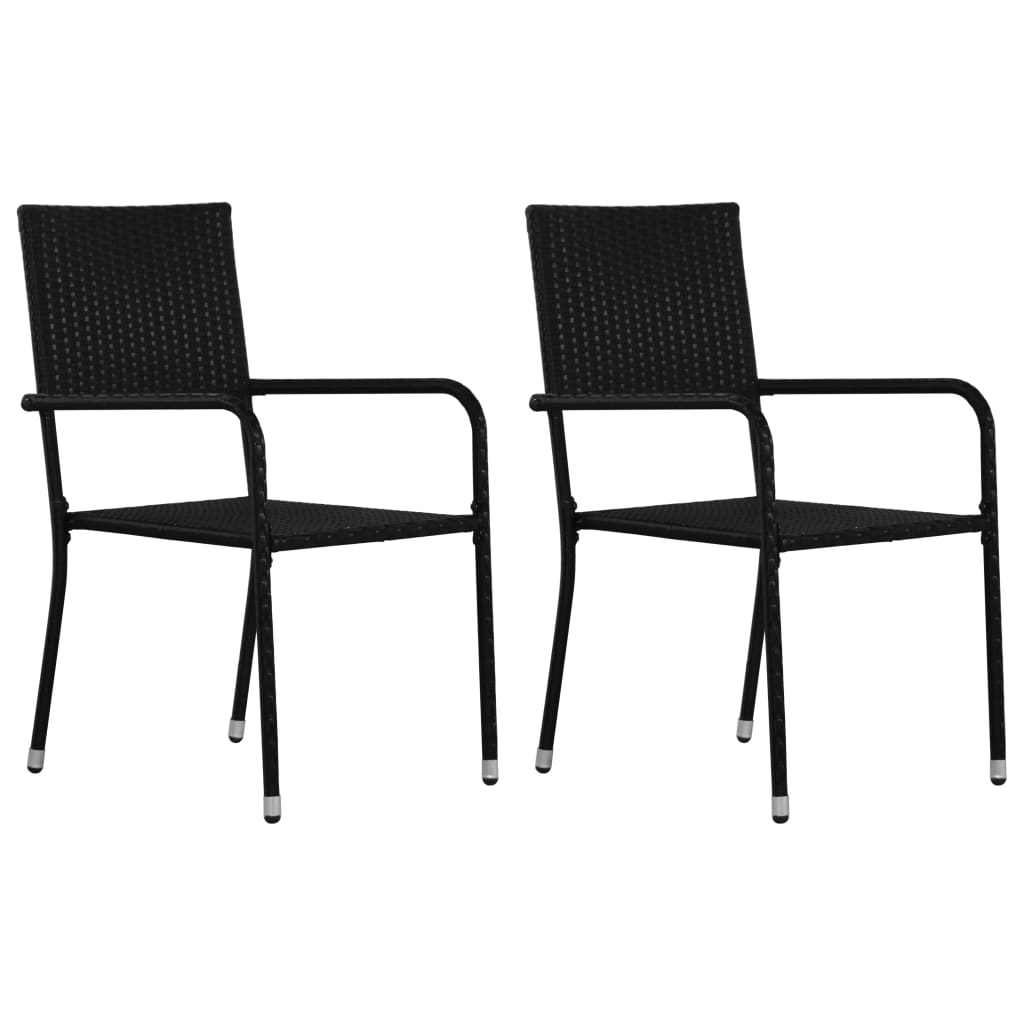 Outdoor Dining Chairs 2 pcs Poly Rattan Black 1