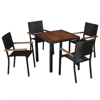 5 Piece Outdoor Dining Set Poly Rattan and Acacia Wood Black 1