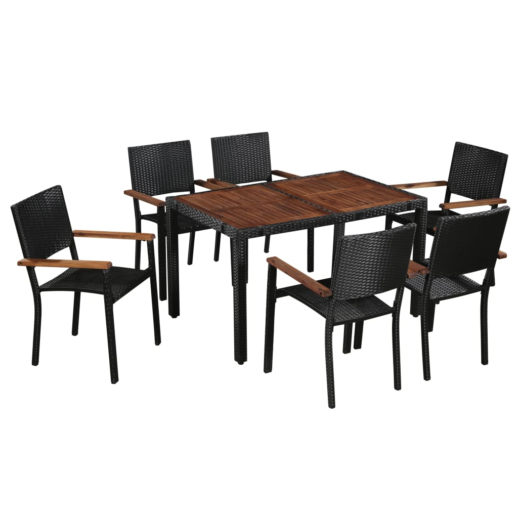 7 Piece Outdoor Dining Set Poly Rattan and Acacia Wood Black 1