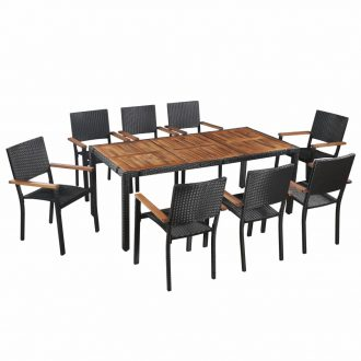 9 Piece Outdoor Dining Set Poly Rattan and Acacia Wood Black 1