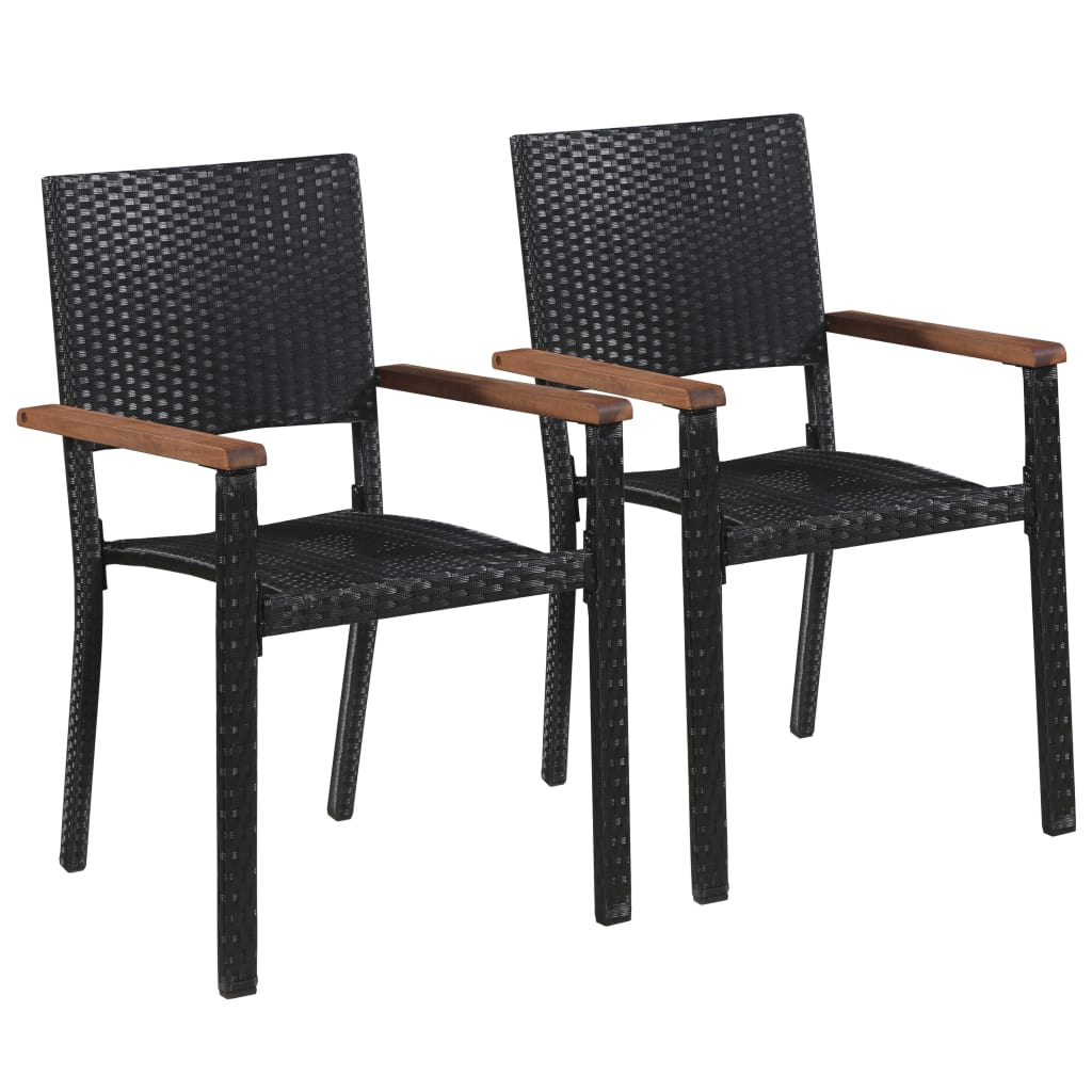 Outdoor Chairs 2 pcs Poly Rattan Black 1