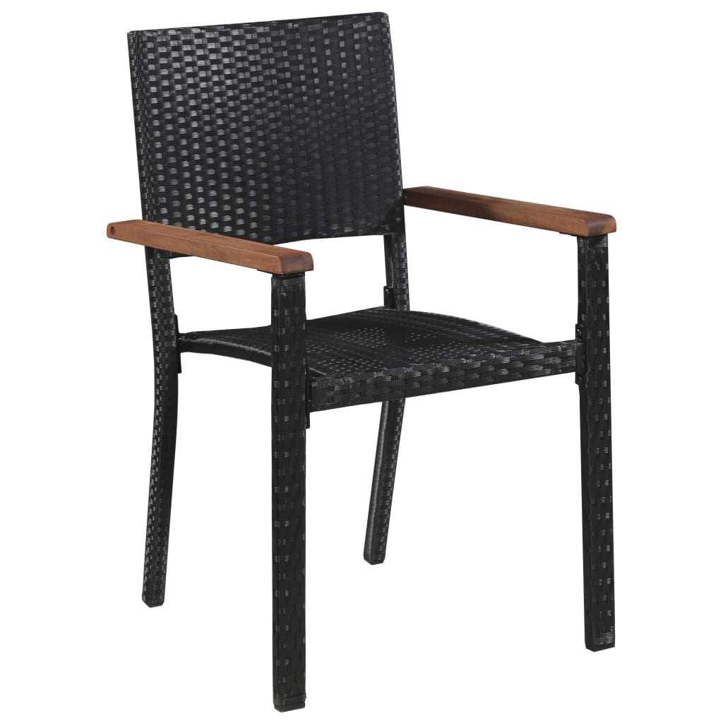 Outdoor Chairs 2 pcs Poly Rattan Black 2