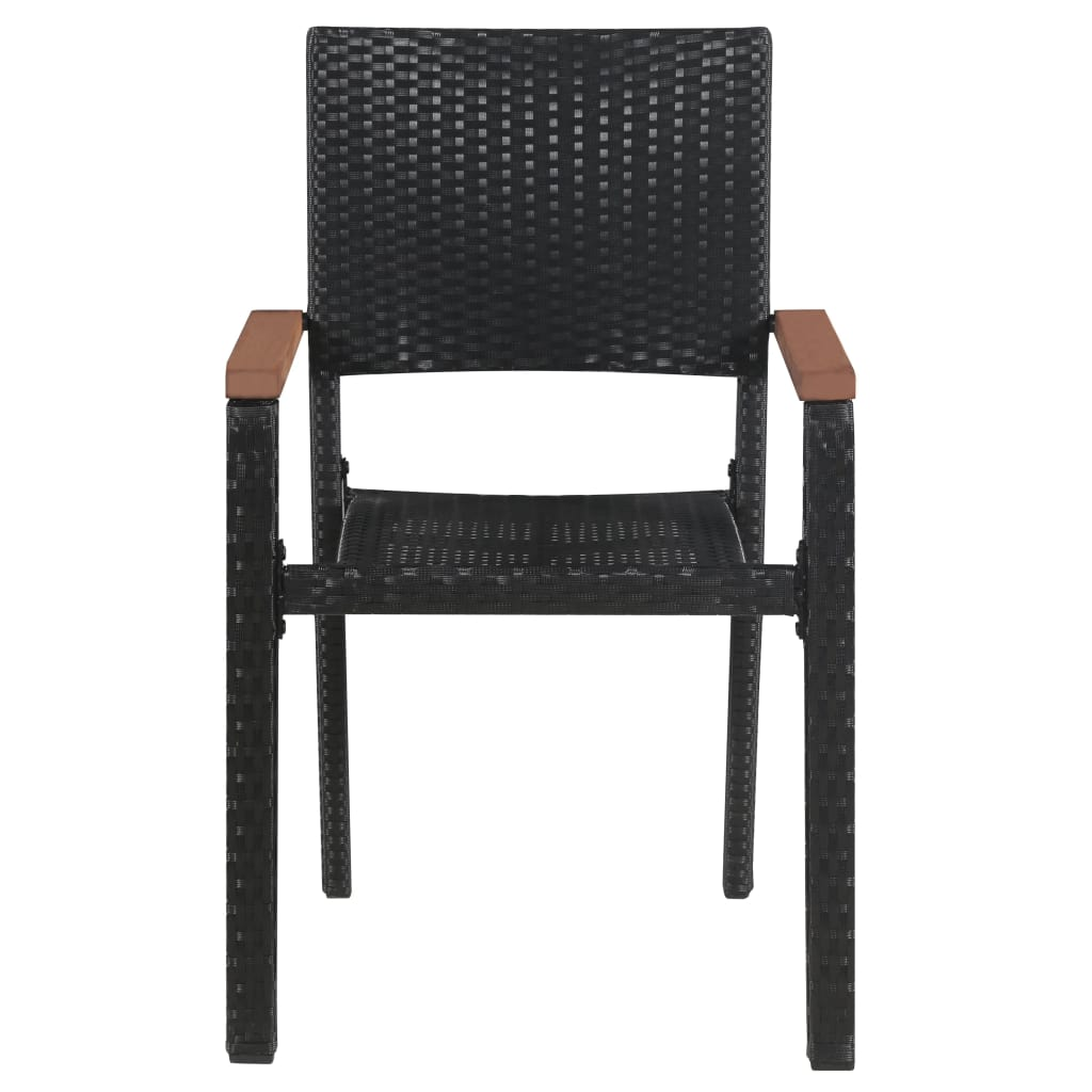 Outdoor Chairs 2 pcs Poly Rattan Black 3
