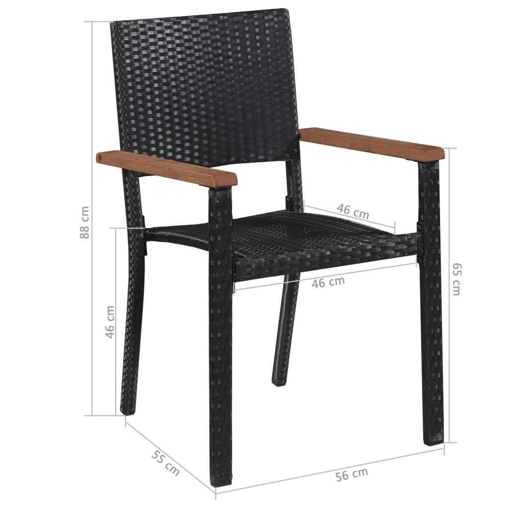 Outdoor Chairs 2 pcs Poly Rattan Black 5