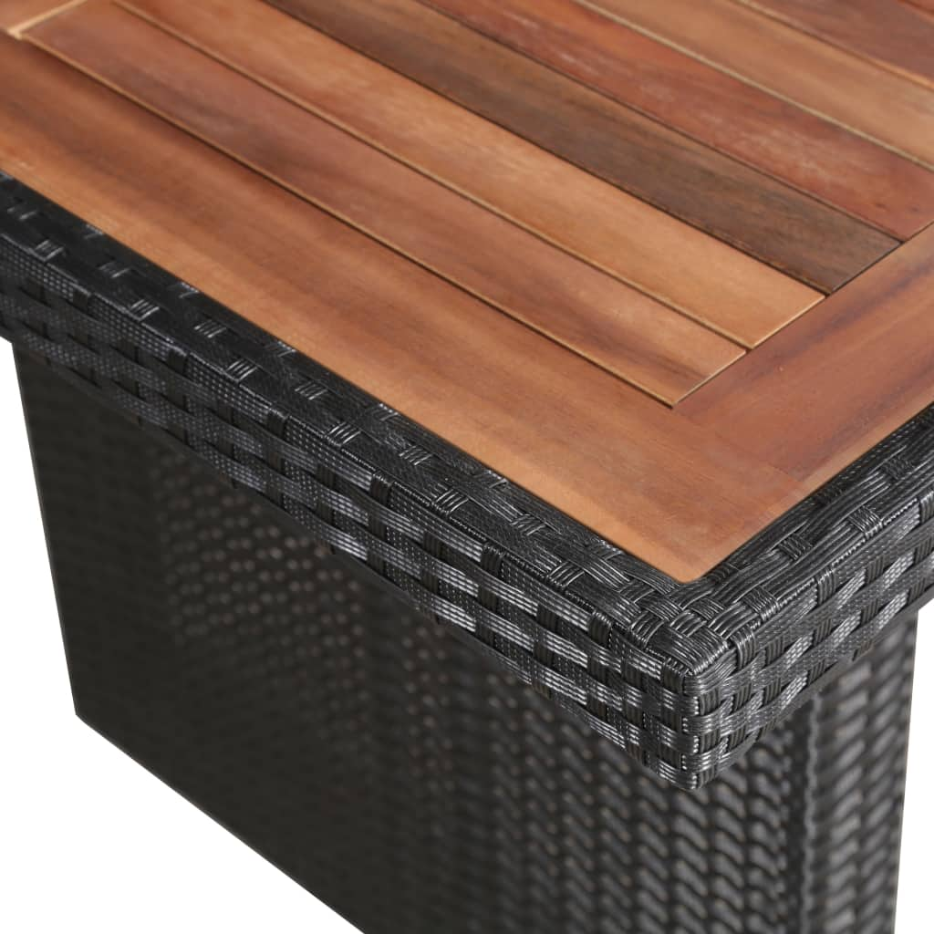 Garden Table 240x90x74 cm Poly Rattan and Solid Acacia Wood 2