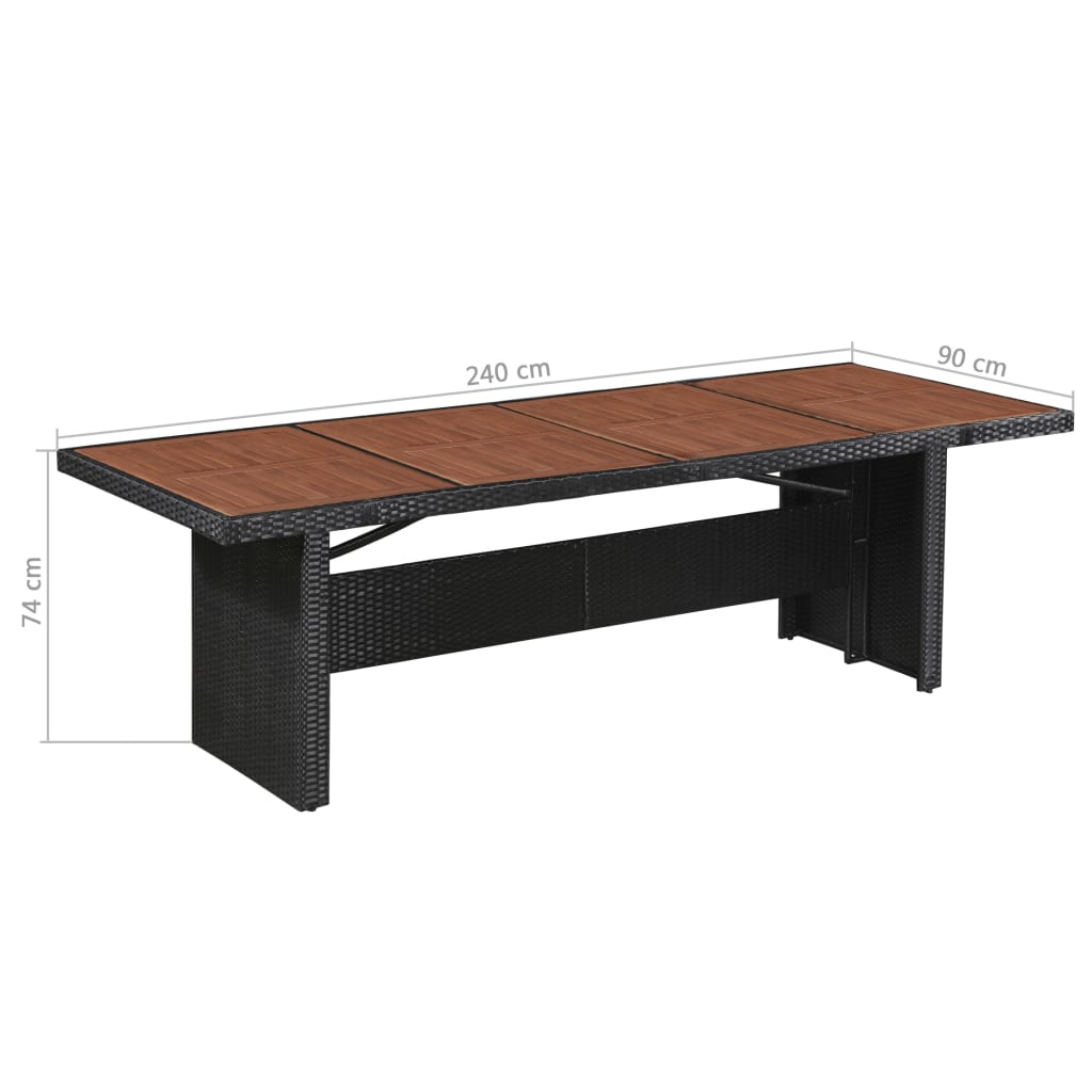 Garden Table 240x90x74 cm Poly Rattan and Solid Acacia Wood 4