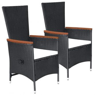 Outdoor Chairs 2 pcs with Cushions Poly Rattan Black 1