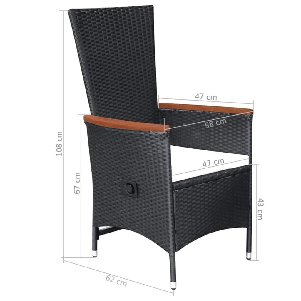 Outdoor Chairs 2 pcs with Cushions Poly Rattan Black 4