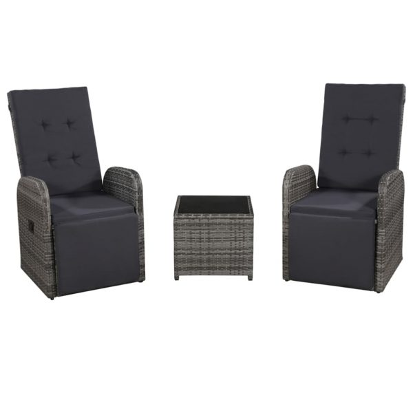 3 Piece Bistro Set with Cushions Poly Rattan Grey 1