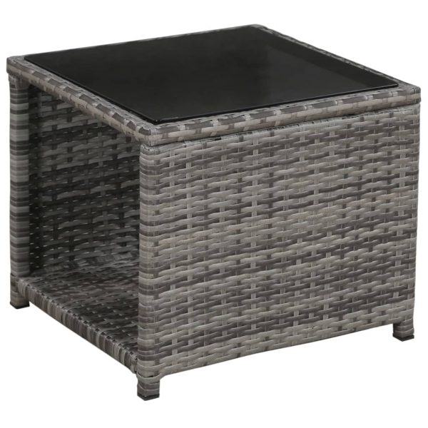 3 Piece Bistro Set with Cushions Poly Rattan Grey 5