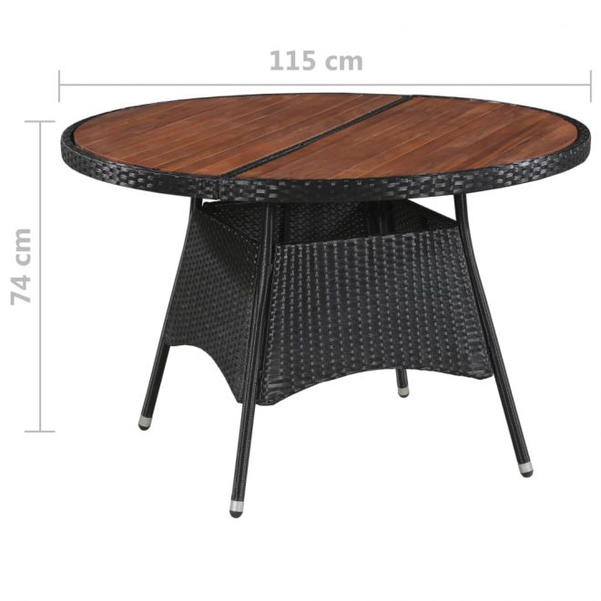 Garden Table 115×74 cm Poly Rattan and Solid Acacia Wood 3