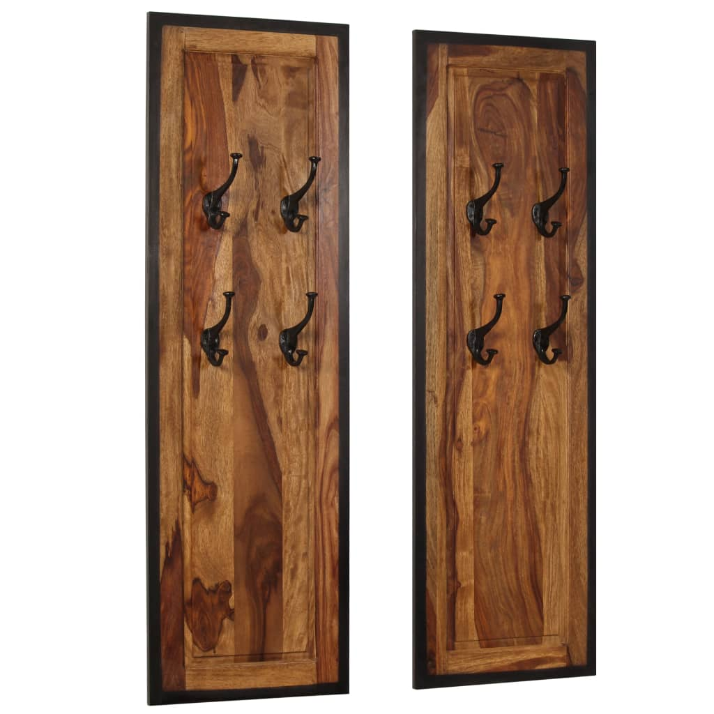 Coat Racks 2 pcs Solid Sheesham Wood 1